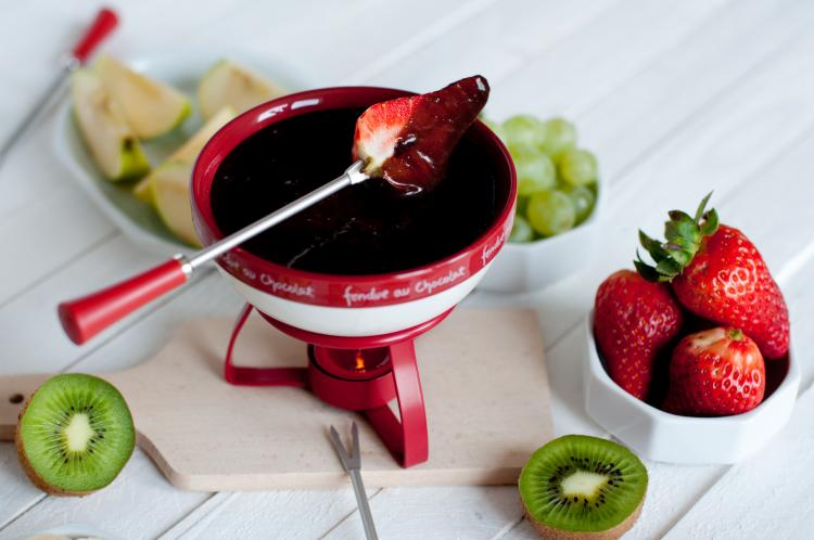 Serve chocolate fondue with lots of healthy fruits on Chocolate Fondue Day.