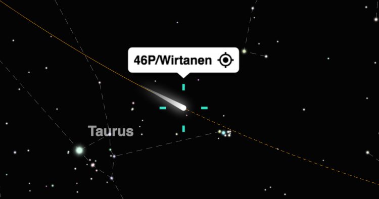 Screenshot of comet 46P/Wirtanen in the night sky map on timeanddate.com