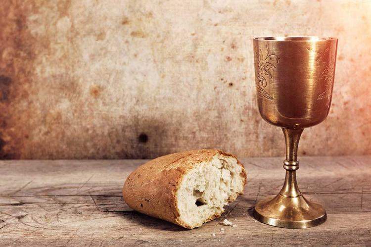 Bread and wine offered for Communion Bread and wine are usually ...