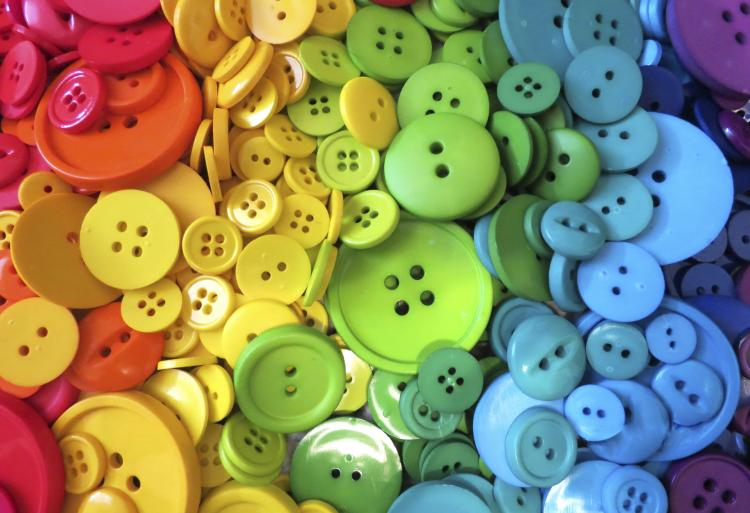 Rainbow sewing buttons.