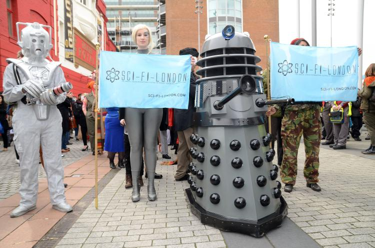 People dressed up as their favorite Sci-Fi characters at the Sci-Fi London Parade which marks the start of the 2013 Sci-Fi London Film Festival in Stratford, London.