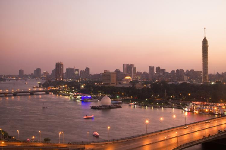 View over the city of Cairo and Nile river at dusk