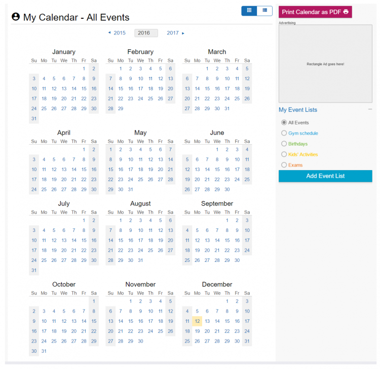 Screenshot of calendar view in add your own event service