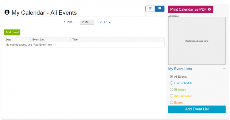 Screenshot of list view in add your own event service