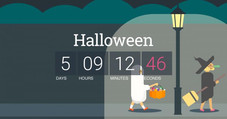 screen shot of halloween countdown service