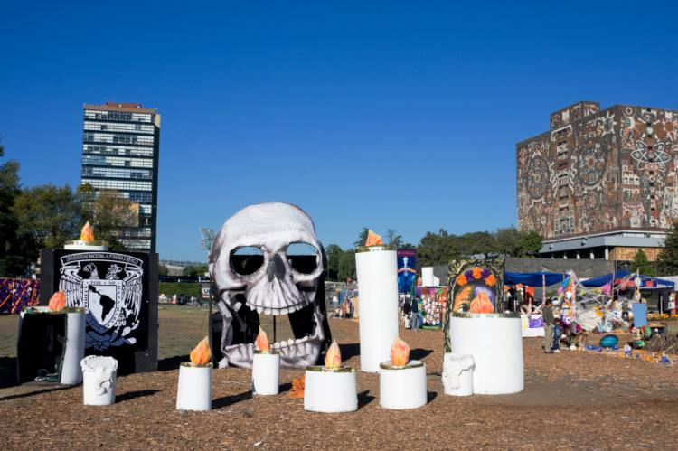 Halloween coincides with Day of the Dead preparations in Mexico City