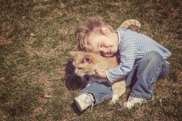 Young boy hugging his cat.