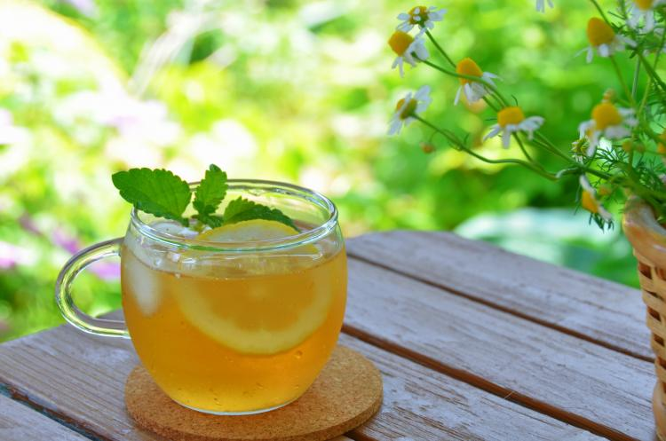 Iced tea in a summer garden.