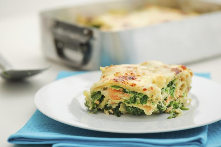 A Plate of salmon lasagna.
