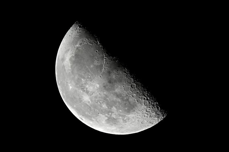 Close-up of a Half Moon or Third / Last Quarter Moon against a black night sky