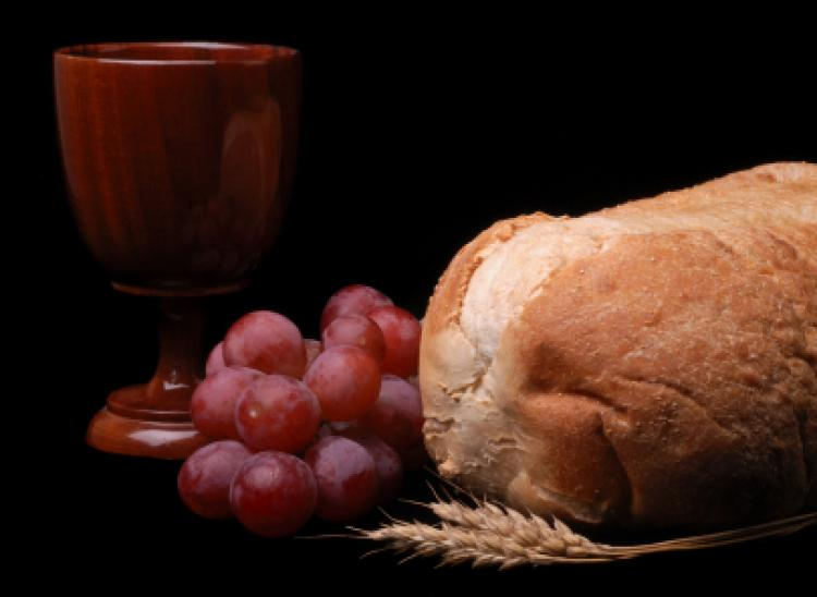 Communion elements of grapes, cup, bread, and wheat