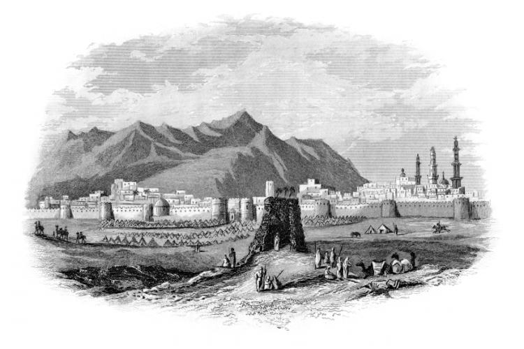 This vintage engraving depicts a view of the ancient, holy city of Al Madinah in Saudi Arabia, and burial place of the Islamic prophet Muhammad (also spelled Medina).