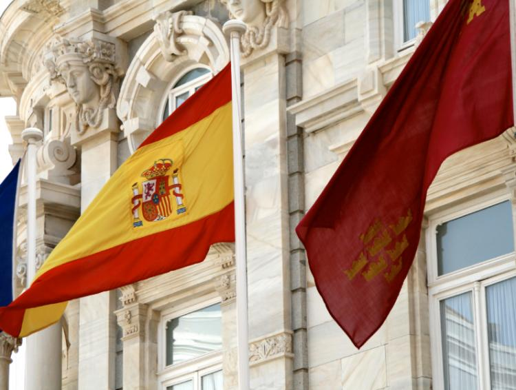 spanish flag in Cartagena (Murcia) in front of the city hall