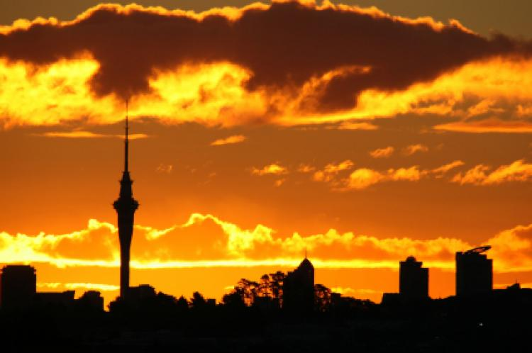 The auckland sky tower at sunset