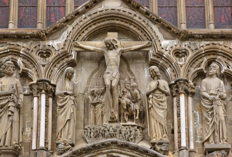 Statue of Jesus crucified at Nidarosdomen, the catherdral in Trondheim, Norway
