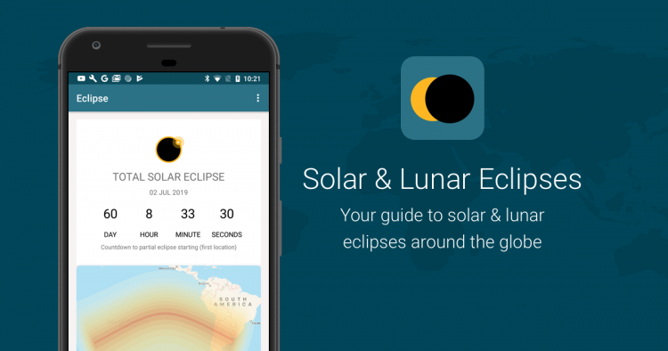 Screenshot from timeanddate.com's Solar & Lunar Eclipses App