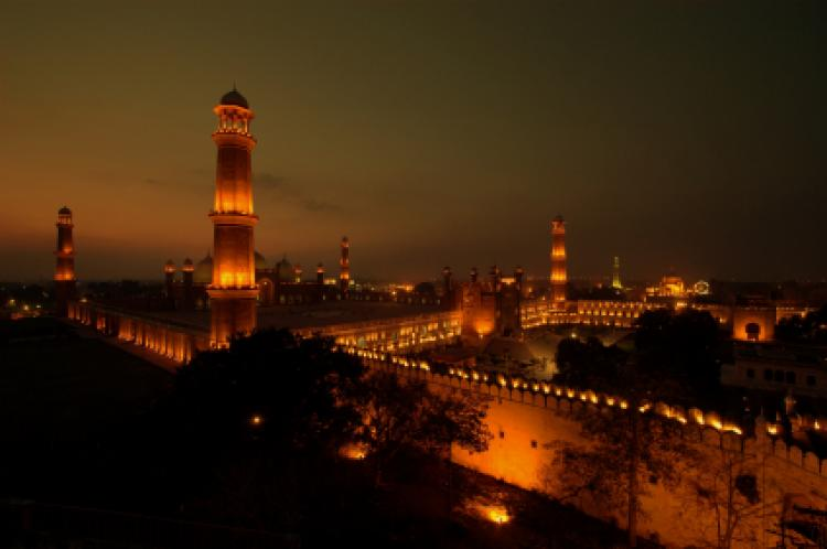 View at night in Lahore, Pakistan