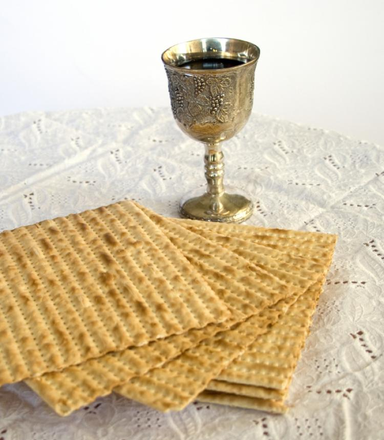 Matzo and Kiddush Cup with Wine
