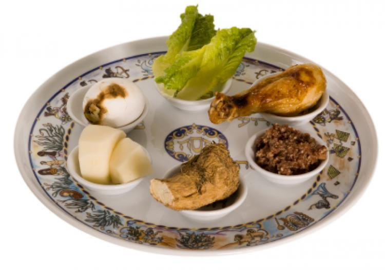 Pesach seder plate seen during Passover