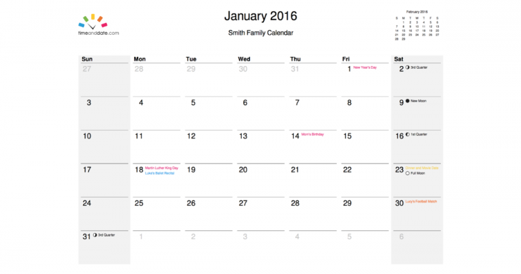 Time And Date Calendar Newsletter Issue #55