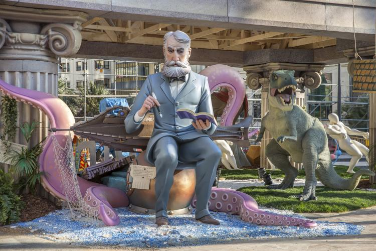 Valencia, Spain – March 17, 2015: The writer Jules Verne part of the monument presented by the city hall of Valencia.