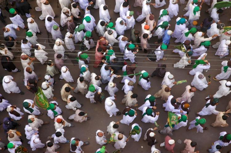 Muslims in Karachi, Pakistan take out the procession for the birthday of the Holy Prophet Muhammed