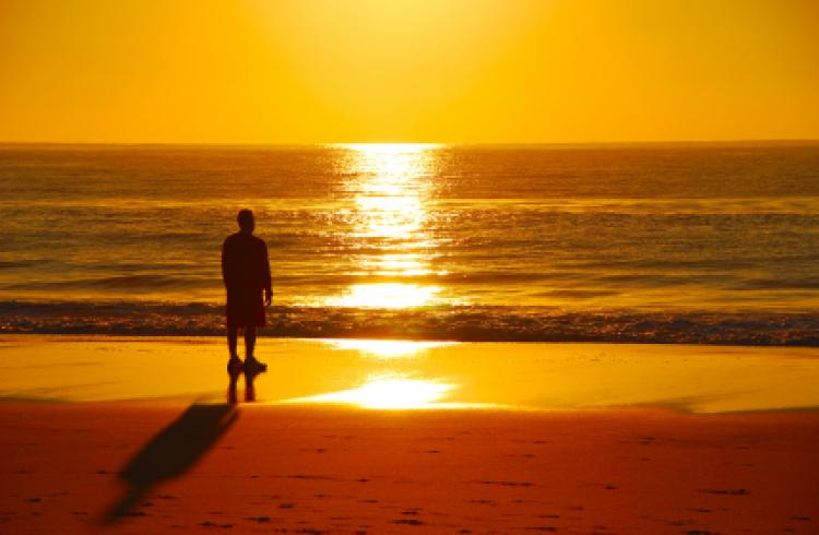 Solitary figure overlooking ocean at sunrise.