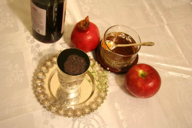 A meal set on a table for Rosh Hashana.