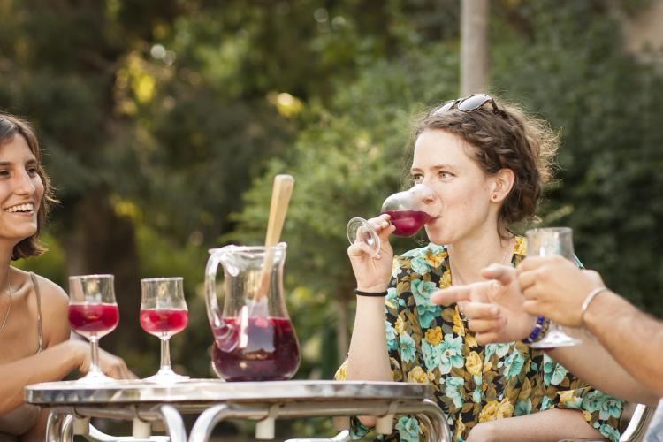 Young woman drinking sangria with friends.