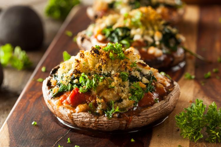 Make some delicious stuffed portabello mushrooms at home.