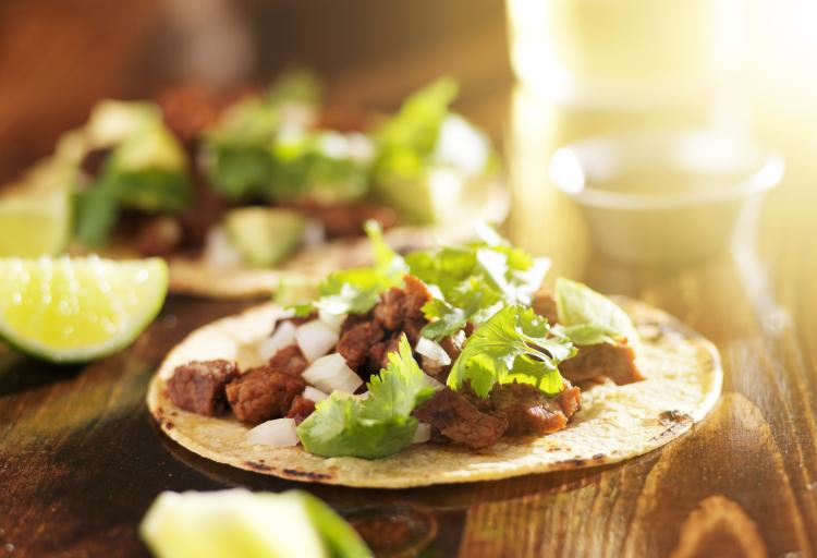 Mexican tacos with beef and corn tortilla.