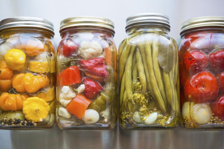Jars of pickled peppers.