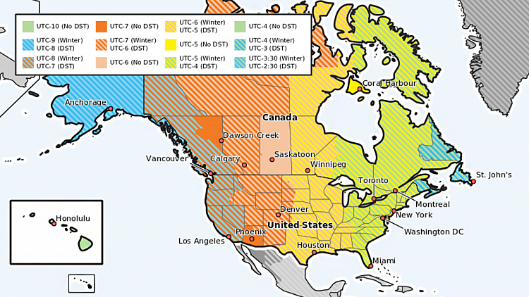 US and Canada DST Map