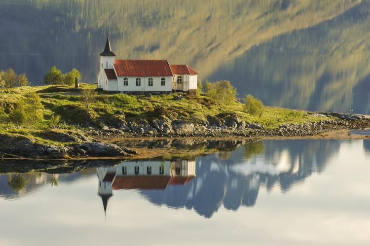 Vestpollen chapel by the sea in Lofoten, Norway.