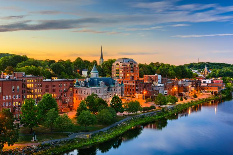 Buildings in Augusta in Maine, USA at sunset.