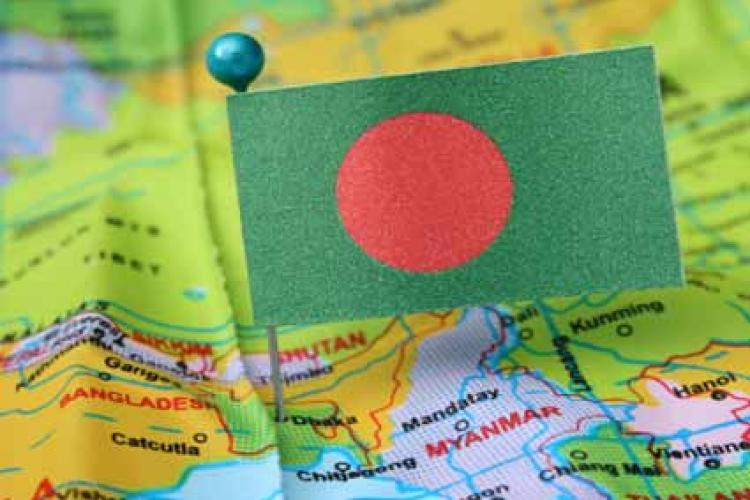 map showing Bangladesh with flag