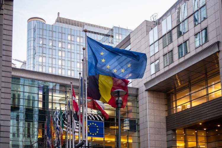 European flags outside the European Parliament building in Brussels, Belgium.