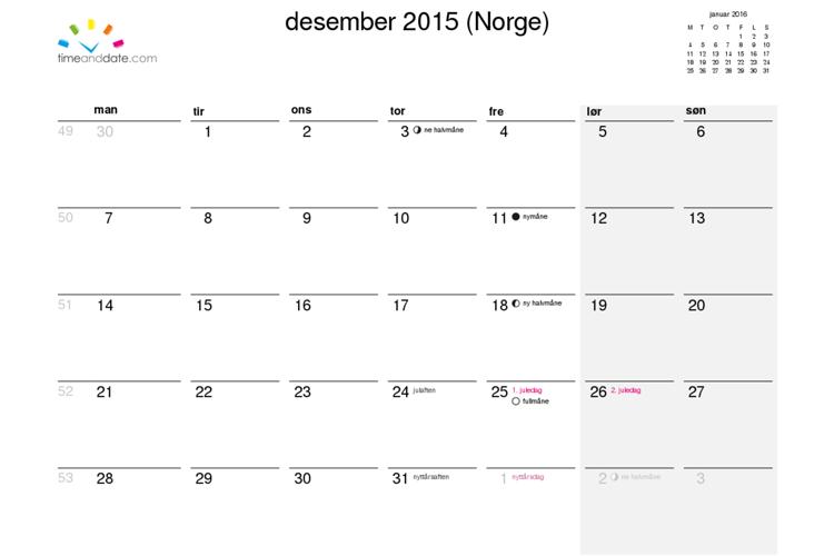 kalender uke 2016
