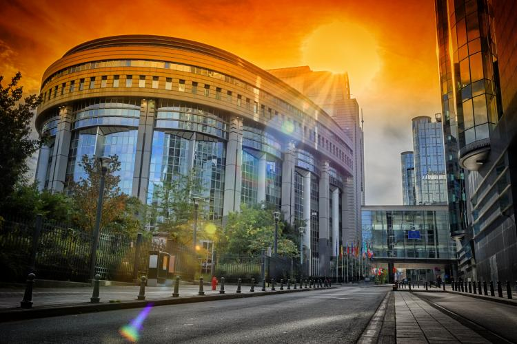 European Parliament building at sunset. Brussels, Belgium.