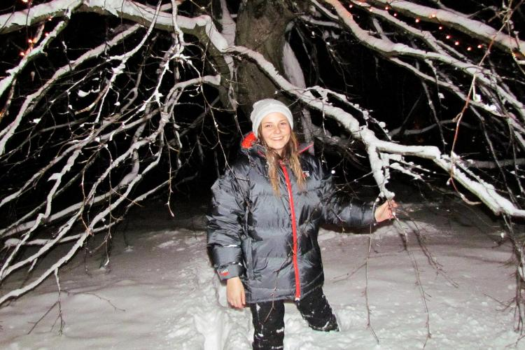 Princess Ingrid Alexandra in the snow in winter, 2018.