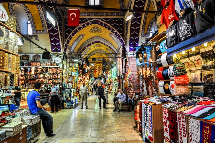 Shopping arcade in the Grand Bazaar market in Istanbul, Turkey.