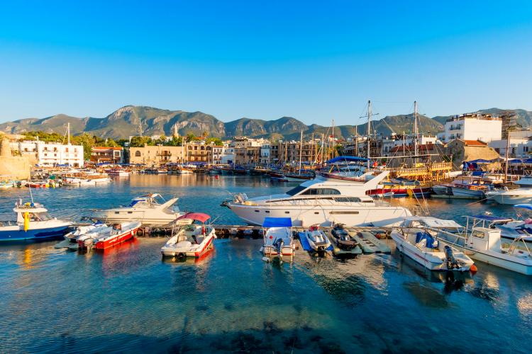Kyrenia harbor in Turkish occupied Northern Cyprus.