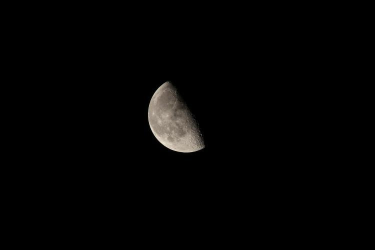 A Last Quarter Moon, also called Half Moon, where the left half of the Moon is lit up.