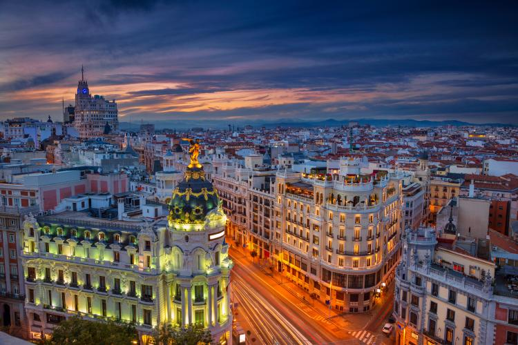 Buildings in Madrid, Spain at sunset.