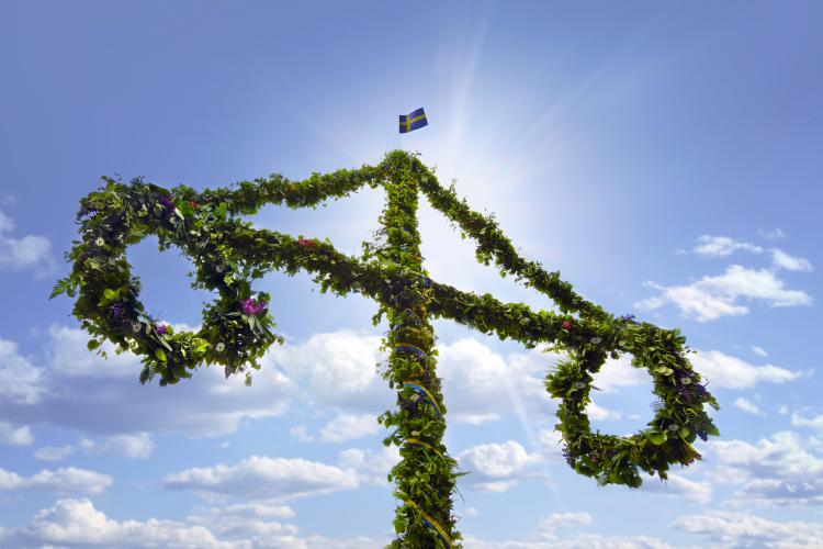 Midsummer maypole in Sweden.