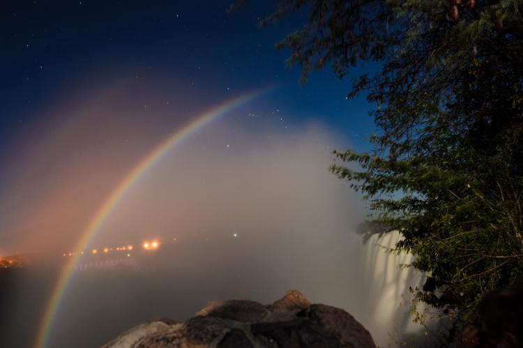 Moonbow over Victoria Falls in Zimbabwe and Zambia.