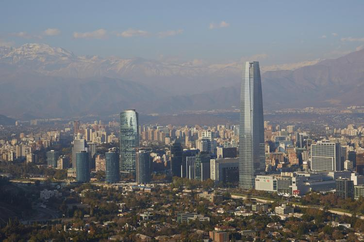 Skyscrapers in central Santiago, Chile.