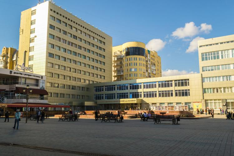 The main center of Saratov in Russia with modern buildings.