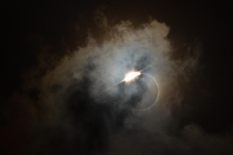 Totality in a solar eclipse begins and ends with a diamond ring.