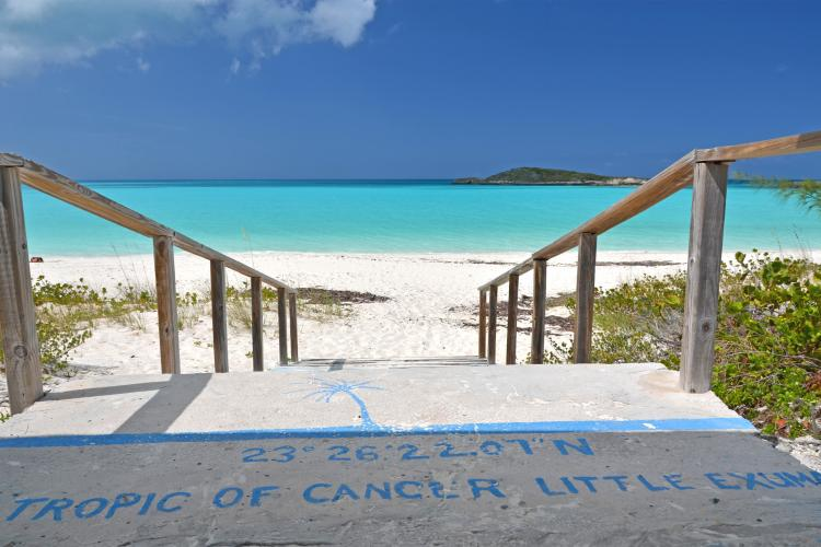 Tropic of Cancer mark at Little Exuma, Bahamas.